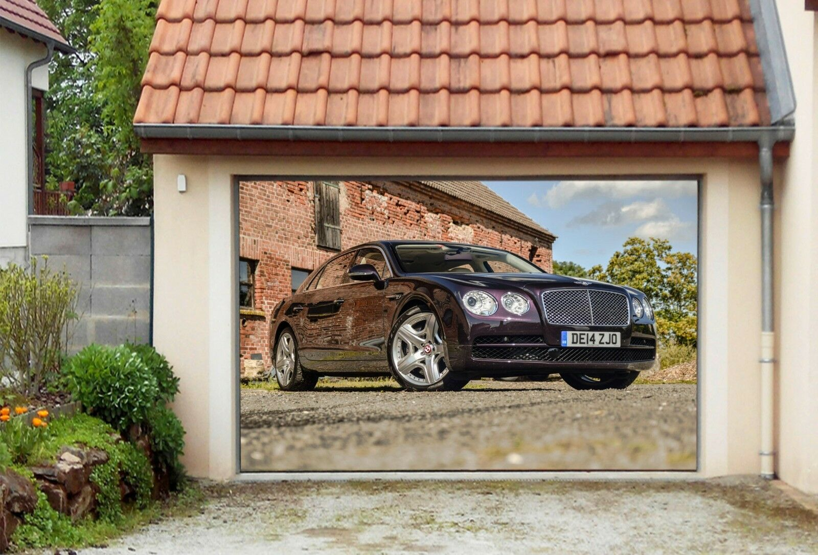 3d Black Car 77 Garage Door Murals Wall Print Decal Wall