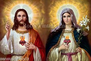 Sacred Heart of Jesus & Mary paint Art Print Poster Savior & Holy Mother of God