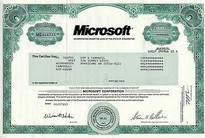 Microsoft Corporation, Washington, 2003 (1 Share) sig. Steven Ballmer