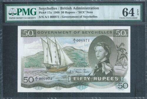"SEYCHELLES QEII 50 Rupees ""SEX"" note P17a 1968 PMG 64 EPQ Choice Uncirculated"