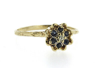 10K Tulip Ring Sapphire & Diamond Stacking Yellow Gold Size 7 Vintage Yellow Gold Tulip