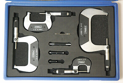 Fowler 4 Piece Outside Micrometer Set 0 To 4 Graduated 0.0001 New