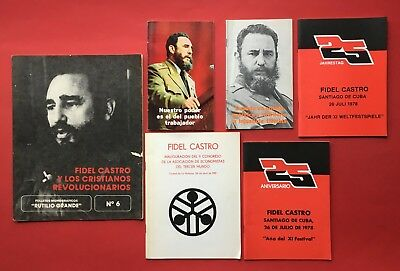 6 x Prospekte Kuba FIDEL CASTRO in spanischer Sprache 1976/78/79/81 ( F18338