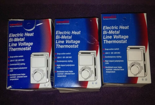 3 Fahrenheat MS26R Wall Mount Bi-Metal Line Voltage Thermostat Single Pole