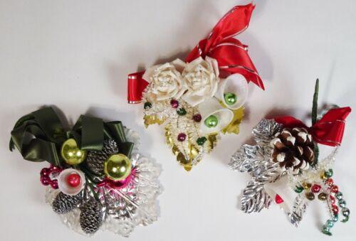 Vintage Christmas CORSAGE Lot of 3, Roses, Pinecones, Glass Balls, Bottle Brush