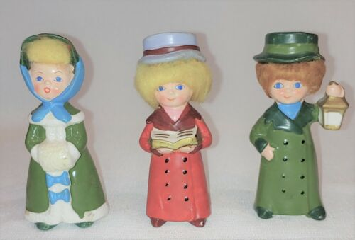 Vintage Napcoware Christmas Carolers With Hair 5 Inches Tall Set 3