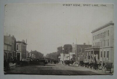 Spirit Lake IA Street Scene Old 1910s Iowa Postcard; Hill Street?; Unused