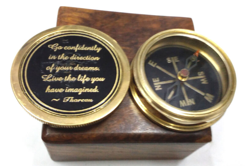 The Road Not Taken  Compass Antique Nautical Vintage With Wooden Box