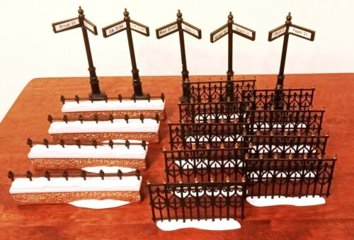 Dept. 56 Fence Extensions Church Yard #58076 Wrought Iron #52531 +Street Signs