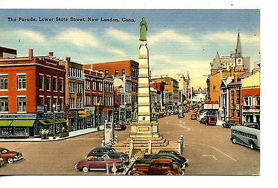 Monument-Lower State Street Scene-Stores-New London-Connecticut-Vintage Postcard