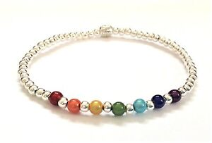 RAINBOW HEALING CHAKRA MIRACLE BEAD SILVER STRETCH / STRETCHY STACKING BRACELET