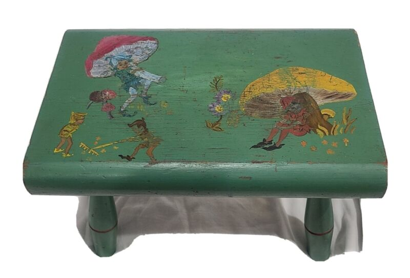 Vintage Brownies Fairies Faeries Pixies Hand Painted Wood Stool AEL A E L