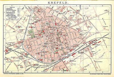 Historische alte Stadtkarte 1902: Krefeld. Stadtplan (B14RA)