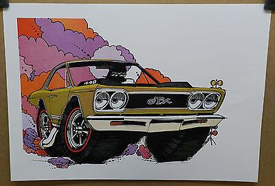 1968 PLYMOUTH GTX MOPAR DRAG RACING 68 CARTOON HEART DEALER POSTER