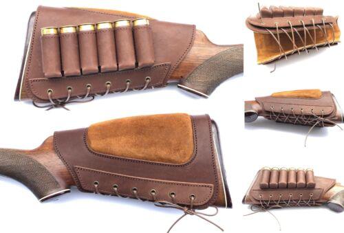 Leather Buttstock Shotgun Shells Holder Cheek Rest Hunting Left Right 12ga  20ga