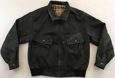 Burberry London designer black genuine leather bomber jacket Nova check mens 50