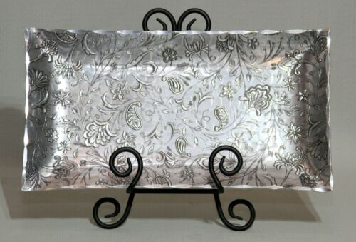 """Wendell August Forge Aluminum Hammered Paisley and Floral Tray 12"""" x 6.5"""""""
