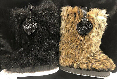 Lot/2 GUESS Andorra Round Toe Faux Fur Girl's Boot Cheetah & Black Eskimo Sz (Guess Kids Boots)