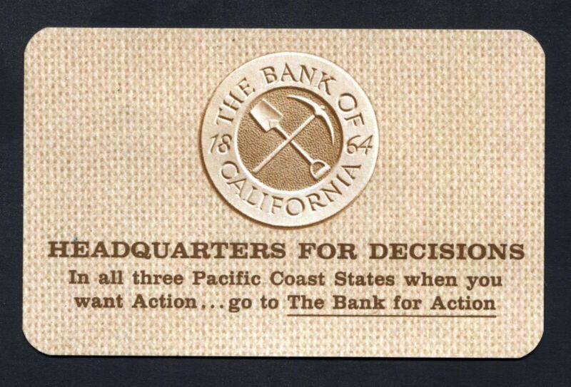 The Bank of California 1864 November 1965 1966 Calendar Wallet Card - MFUG UNION