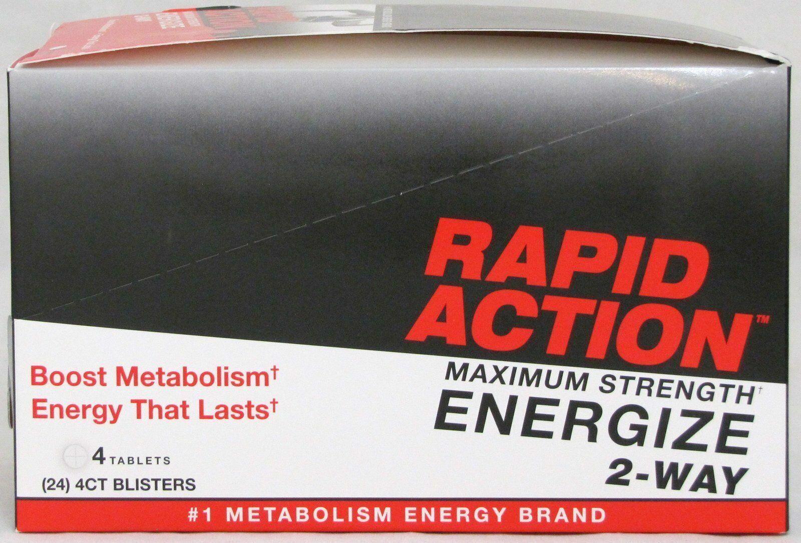 Rapid Action Energize 2 Way Lasting Energy Boost Metabolism 24 Packs 96 Pills  1