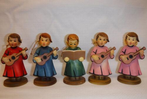5 vintage Angel Christmas Tree Ornament Figurine lot Hard Plastic Hummel Style