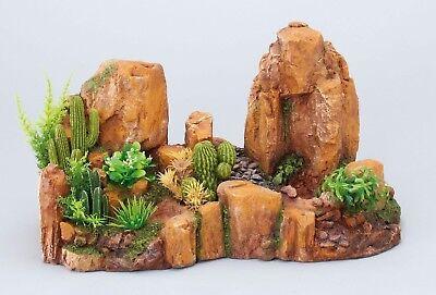 Kaktus Rock  42 cm Kunstpflanze Wüste Kunststein Polyrin Pflanze Terrarium