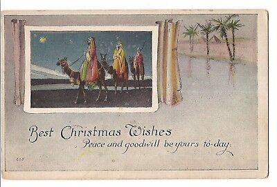 BEST CHRISTMAS WISHES 3 Wise Men Camels Religious Palm Trees Desert Postcard
