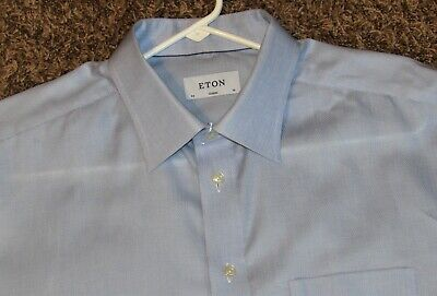 ETON MENS CLASSIC 46-18 XXL 2XL LIGHT BLUE LONG SLEEVE BUTTON FRONT DRESS SHIRT