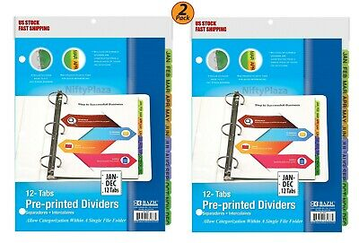 2 Pack - 3-ring Binder Dividers W 12-preprinted Jan-dec Tab Three Ring Binders