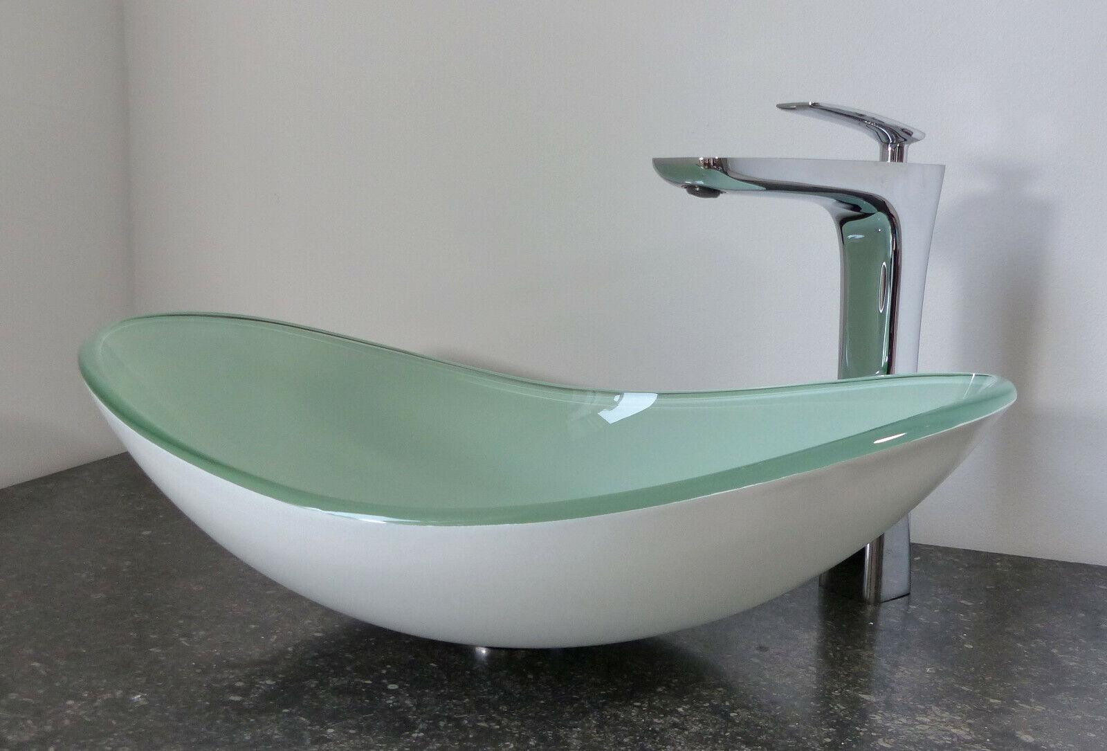 Aufsatz Glas Waschschale Waschbecken Waschtisch oval weiß Glaswashbecken NEU