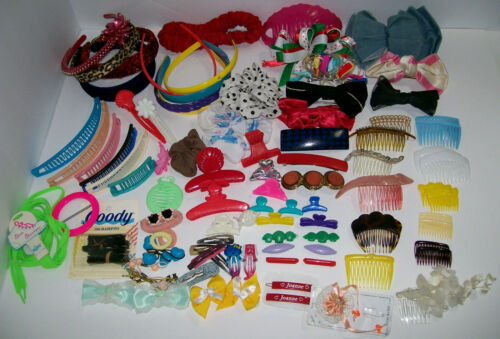 HUGE Lot of TRUE VINTAGE 1980s-90s Hair Clips Bananas Bows Headbands
