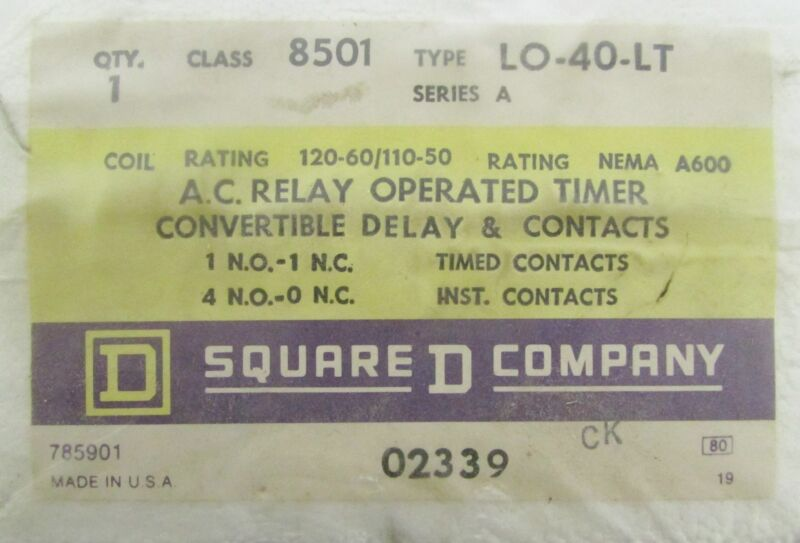 SQUARE D 8501 LO40LT Relay Operated Timing 110-120V AC 8501 LO 40 LT