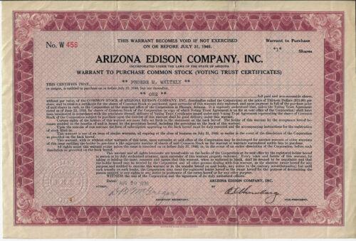 ARIZONA 1936 Arizona Edison Company Warrant Stock Certificate Globe