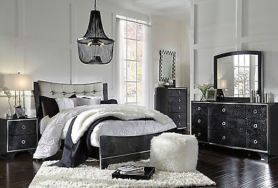 MALCOLM 5 pieces Modern Black Bedroom Set Furniture - NEW Queen Fabric Panel Bed