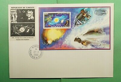 DR WHO 1986 DJIBOUTI FDC SPACE HALLEYS COMET CACHET/LABEL S/S IMPERF  g13481
