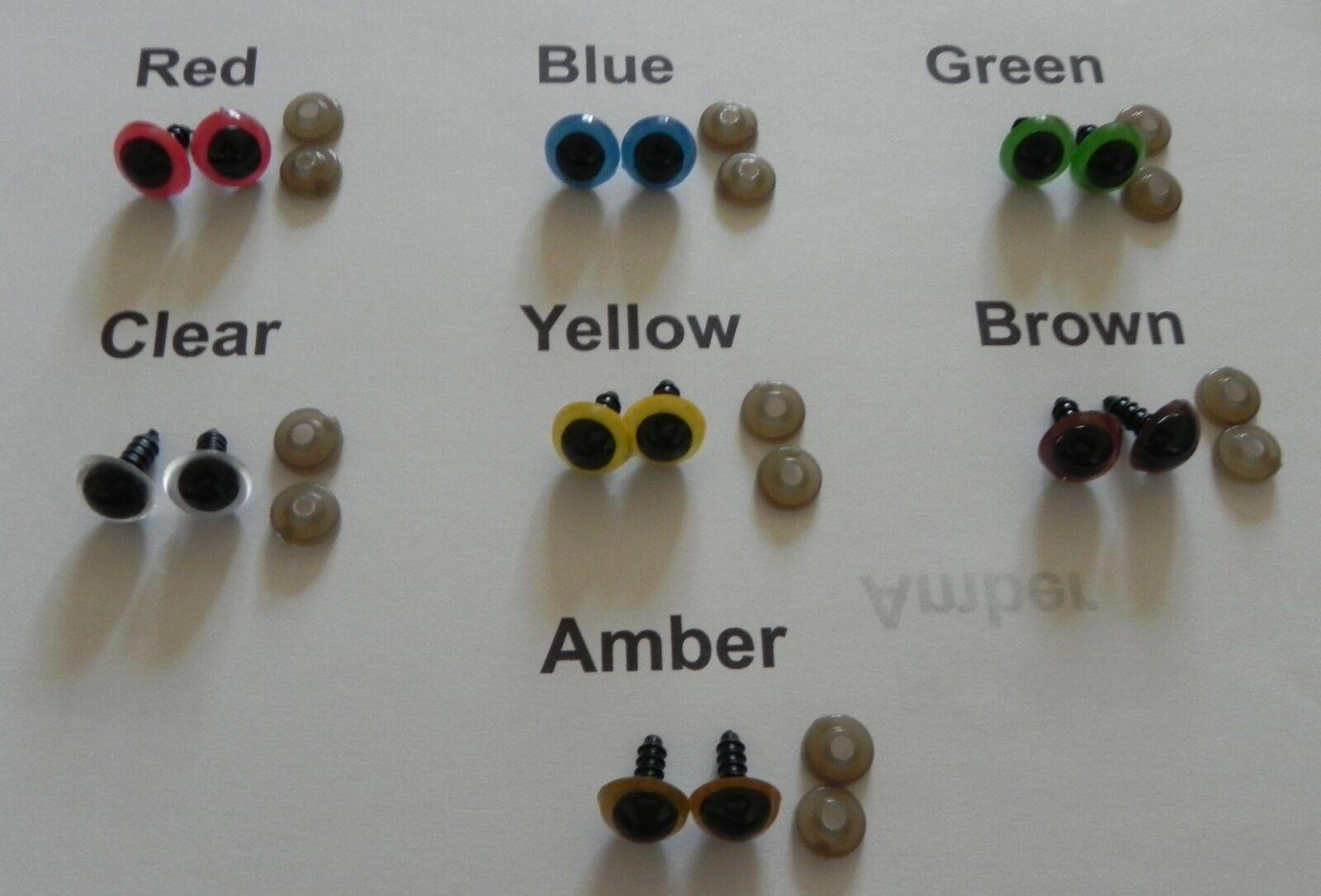 Coloured Plastic Safety Eyes - 8/ 10 /12 /14/16/18 mm, Amigurumi, Soft Toy Teddy