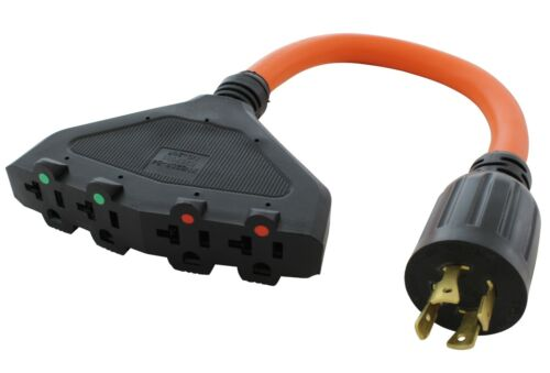 Flexible Power Distribution Adapter NEMA L14-20P to 4 NEMA 5-20R by AC WORKS®