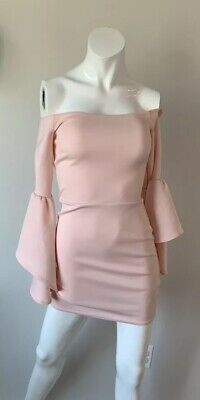 ASOS Pink Fitted Bell Sleeve Dress Women Size 2 Cocktail Party Wedding