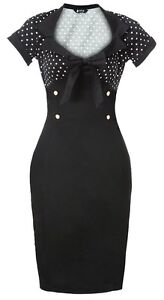 Lady Vintage NEW 50s Chic Retro Pencil Black Polka Dot Wiggle Dress Size 8-20