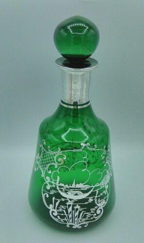 Vintage Italian Glass Decanter Forest Green Silver Overlay Scene Venice Gondola