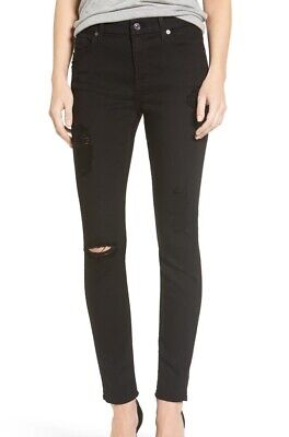7 For All Mankind Women's Jeans Black Size 28X28 Stretch Distressed $179 #812