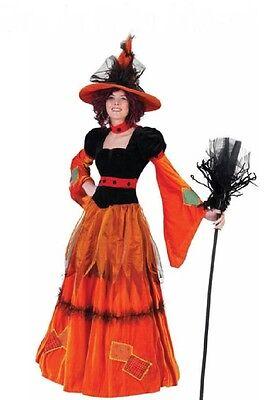 exklusive Hexe Hexenkostüm orange m. HUT Damen Kostüm  Halloween Pumpkin NEUl