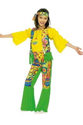 Hippie Kinder 3 tlg. Kostüm 60 er 70 er Jahre  Flower Power 116-152 Neu
