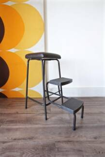 Retro Vintage Folding Step Ladder Stool, Industrial Metal Chair