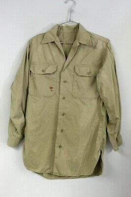 1940s Men's Shirts, Sweaters, Vests 1940s WW2  Khaki Cotton Work Shirt 2 Pocket Vtg Small Distressed 42