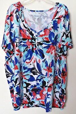 Womens 2X Fit 3X Floral Henley Knit Top Shirt Bust 60 Length 30 Roamans Casual