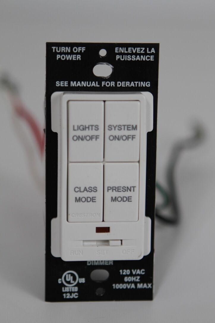 Crestron CLW-DIM4RF Engraved 4 Button Keypad (White)