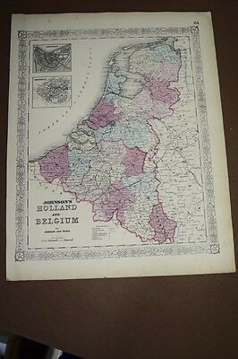 1865 Original Antique Hand-colored Johnson Map of Holland and Belgium