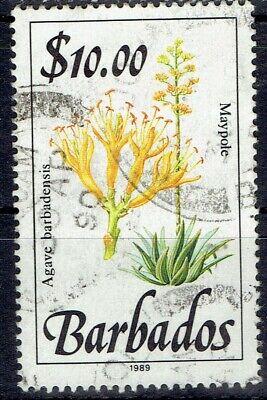 Barbados.  1989.  Top value $10.00 Flowers set used.  Scott 768.  Cat $18.50.