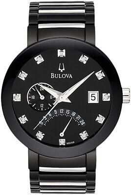 Bulova Men's Quartz Diamond Markers Calendar Black Bracelet 40mm Watch 98D109